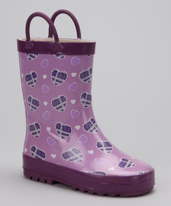 Purple Plaid Heart Rain Boot