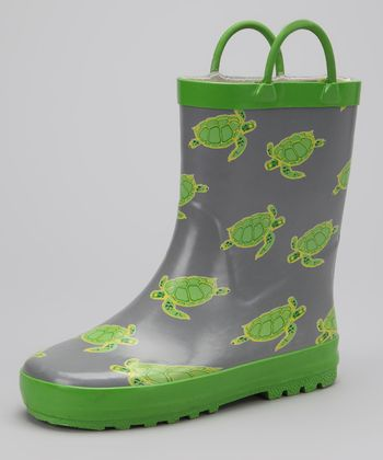 Green & Gray Turtle Rain Boot
