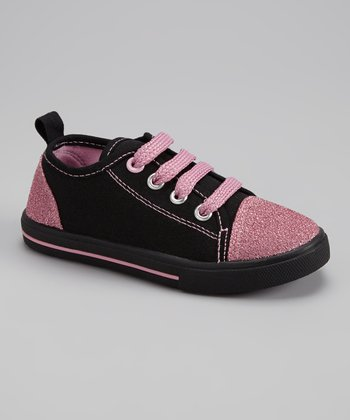 Black & Pink Glitter Slip-On Sneaker