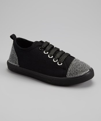 Black & Silver Glitter Slip-On Sneaker