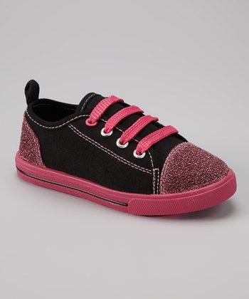 Black & Hot Pink Glitter Slip-On Sneaker