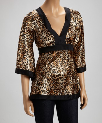 Brown Cheetah Tie-Waist Top