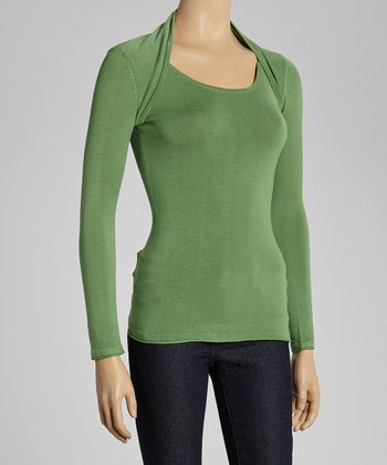 Jade Flip Collar Top