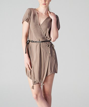 Brown Drawstring Hem Wrap Tunic