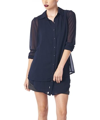 Navy Sheer Double Layer Tunic