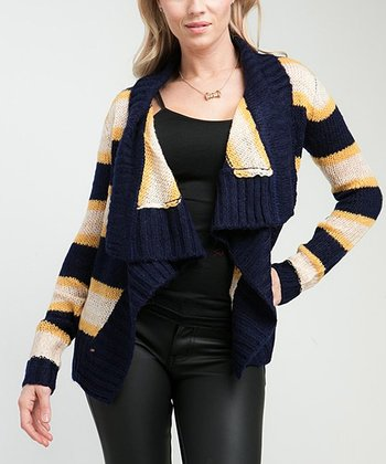 Navy & Mustard Stripe Open Cardigan