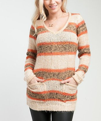 Tan & Orange Stripe Sweater Tunic
