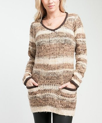 Tan & Brown Stripe Sweater Tunic