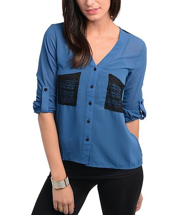 Royal Blue & Black Lace Button-Up
