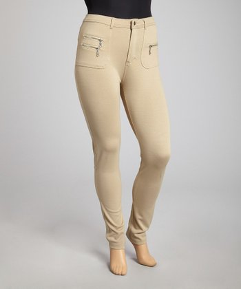 Khaki Zipper Skinny Pants - Plus