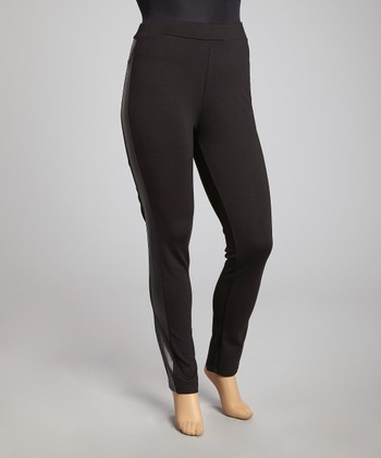Black Faux Leather-Trim Leggings - Plus