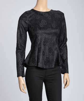 Black Lace Graphic Peplum Top