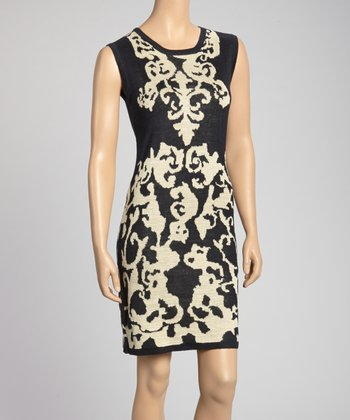 Black & White Filigree Knit Sheath Dress