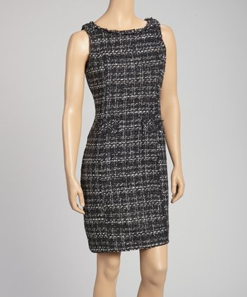 Black Boucle Sheath Dress