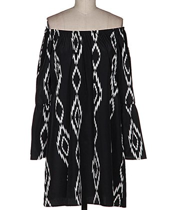 White & Black Tribal Ikat Off-Shoulder Shift Dress