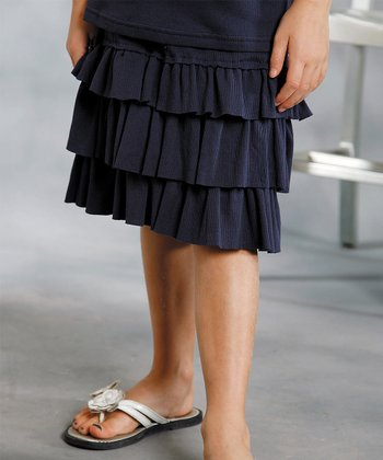 Navy Tier Ruffle Skirt - Girls