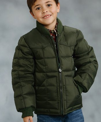 Green Puffer Coat - Boys
