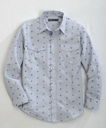Powder Blue Polka Dot Button-Up - Boys