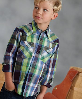 Green & Blue Carnival Plaid Button-Up - Boys