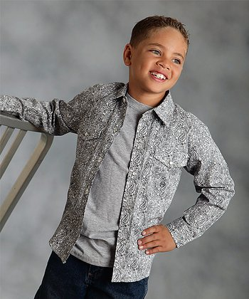 Black Sterling Paisley Button-Up - Boys