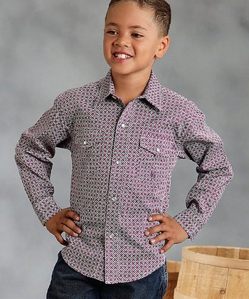 Wine Eastern Lattice Button-Up - Boys
