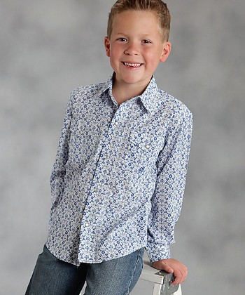 Blue Mozart Print Button-Up - Boys