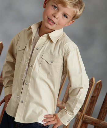Tan Solid Poplin Button-Up - Boys