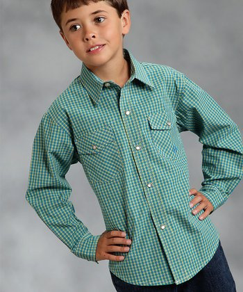 Teal Summer Check Button-Up - Boys
