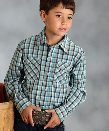 8Blue Buffalo Check Button-Up - Boys