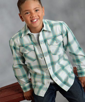 Turquoise Canyon Plaid Button-Up - Boys