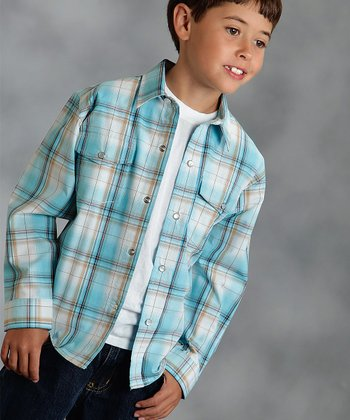 Blue Clear Skies Plaid Button-Up - Boys