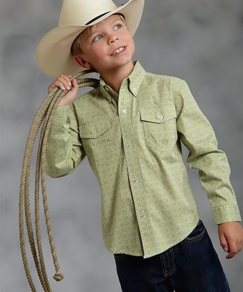 Green Medallion Foulard Button-Up - Boys