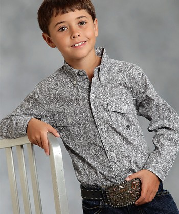 Black & Silver Sterling Paisley Button-Up - Boys
