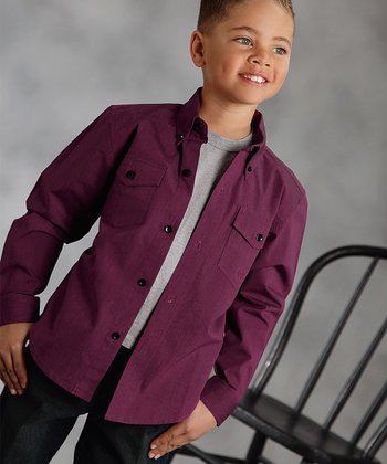 Red Flat Weave Button-Up - Boys