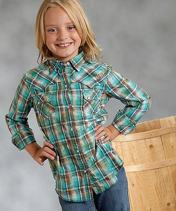 Green Dobby Plaid Button-Up - Girls