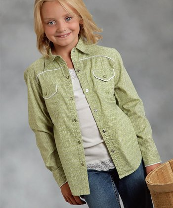 Green Embellished Medallion Foulard Button-Up - Girls