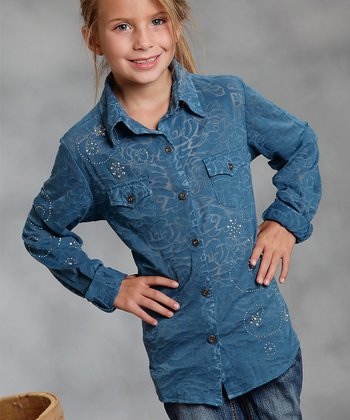 Teal Rose Floral Button-Up - Girls
