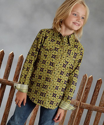 Green Flower Tile Button-Up - Girls