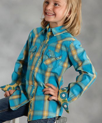 Blue Ombré Plaid Button-Up - Girls