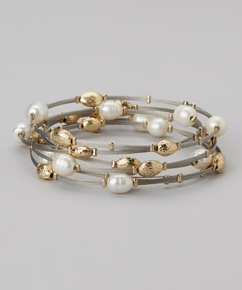 Crystal & Silver Beaded Bangle Set