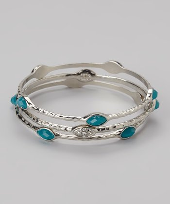 Silver & Turquoise Shimmer Hammered Bangle Set