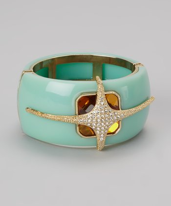 Gold & Turquoise Sparkle Hinged Bangle
