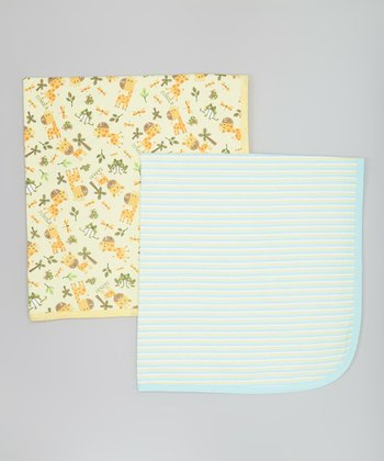 Yellow Giraffe & Light Blue Stripe Stroller Blanket Set