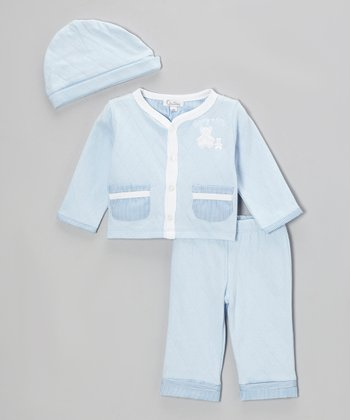 Light Blue Quilted 'Daddy & Me' Cardigan Set