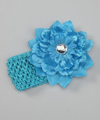 Blue Flower & Rhinestones Stretch Headband