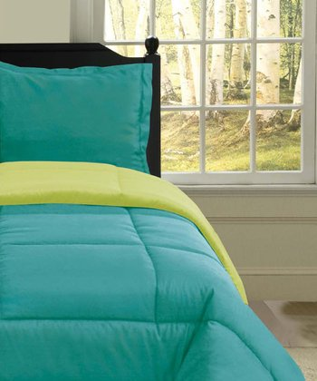 Turquoise & Lime U.S. Polo Reversible Comforter Set
