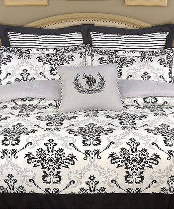 Black & Gray U.S. Polo Reversible Comforter Set