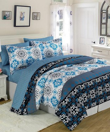 Blue & White Funky Tiles Bed-in-a-Bag Set
