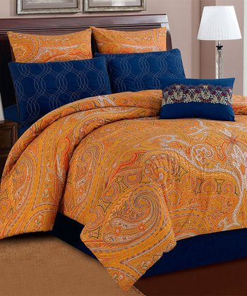 Orange Paisley Shanti 200-Thread Count Bedding Set