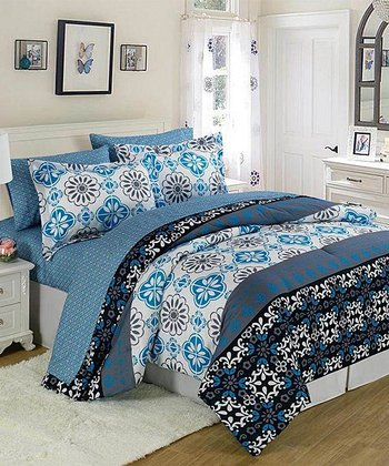 Blue & White Funky Tiles XOXO Bed-in-a-Bag Set
